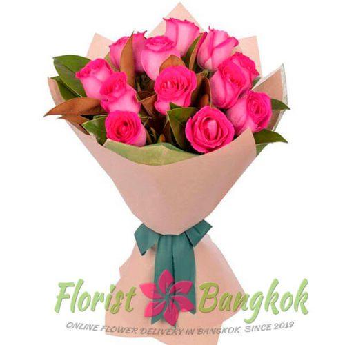 12 Hot Pink Roses from Florist-Bangkok - Online Flower Delivery Bangkok