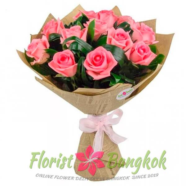 12 Pink Roses from Florist-Bangkok - Online Flower Delivery Bangkok
