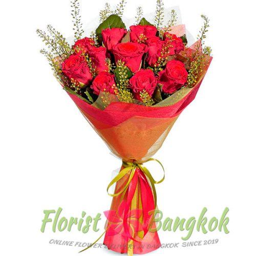 12 Red Roses from Florist-Bangkok - Online Flower Delivery Bangkok
