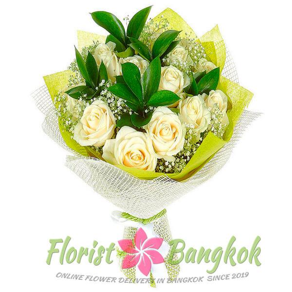 2 White Roses from Florist-Bangkok - Online Flower Delivery Bangkok