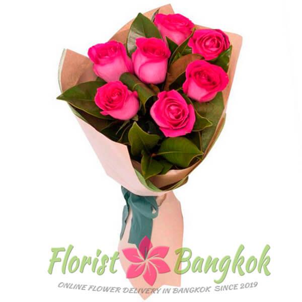 7 Hot Pink Roses from Florist-Bangkok - Online Flower Delivery Bangkok
