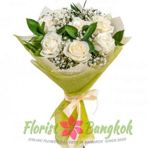 7 White Roses from Florist-Bangkok - Online Flower Delivery Bangkok