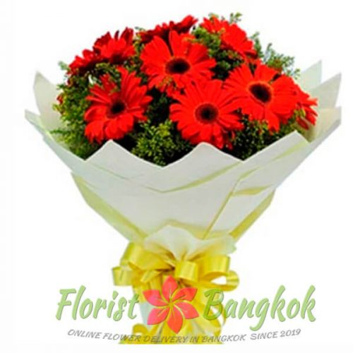 10 Red Gerberas from Florist-Bangkok - Online Flower Delivery Bangkok