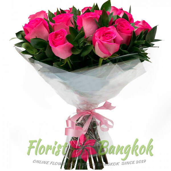 15 Hot Pink Roses from Florist-Bangkok - Online Flower Delivery Bangkok