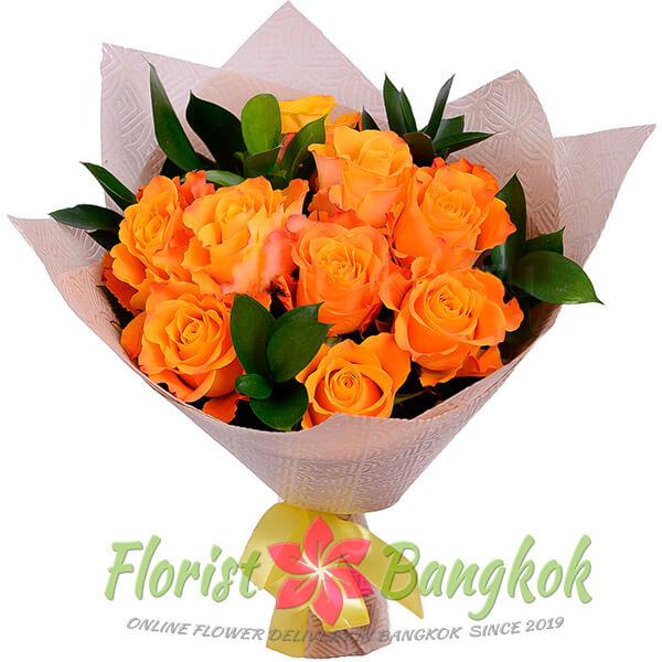 9 Orange Roses from Florist-Bangkok - Online Flower Delivery Bangkok