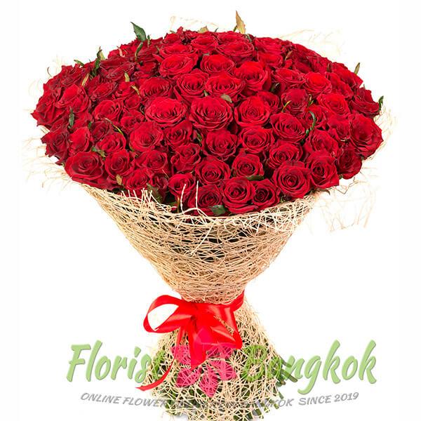 100 Red Roses from Florist-Bangkok - Online Flower Delivery Bangkok