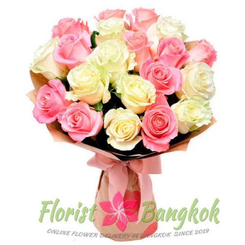 25 White and Pink Roses from Florist-Bangkok - Online Flower Delivery Bangkok