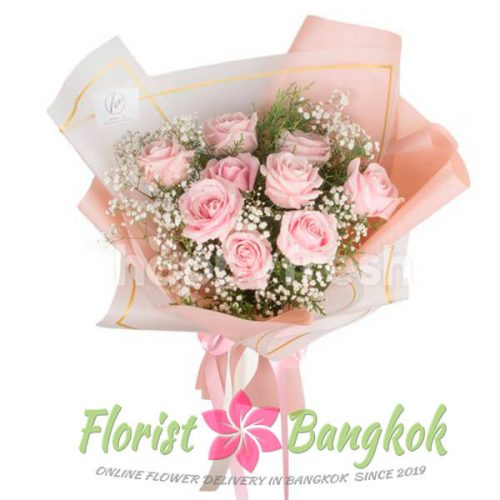 9 Pink Roses from Florist-Bangkok - Online Flower Delivery Bangkok