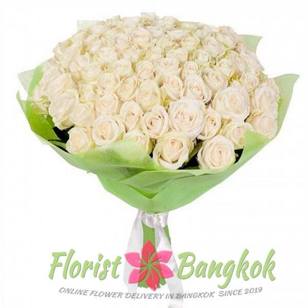 50 White Roses from Florist-Bangkok - Online Flower Delivery Bangkok