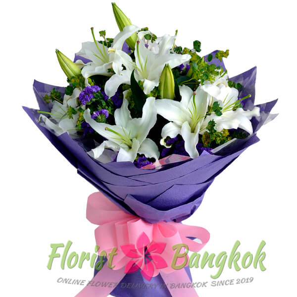 White Lilies Bouquet - Florist-Bangkok