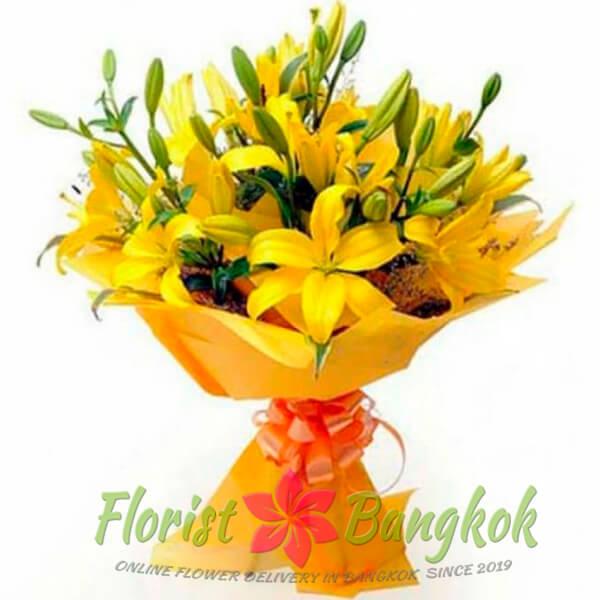 Yellow Lilies Bouquet - Florist-Bangkok